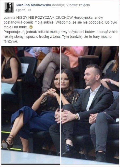 Komentarz na profilu Karoliny Malinowskiej
