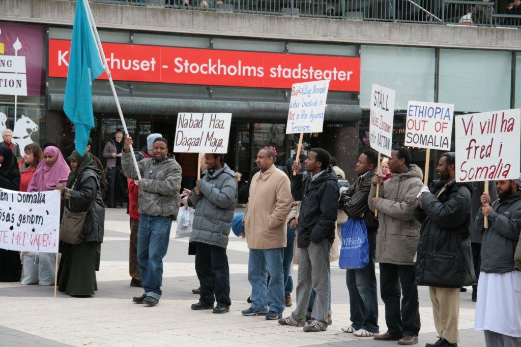 Somalijczycy w Sztokholmie protestują przeciwko wojnie (fot. Shutterstock.com)