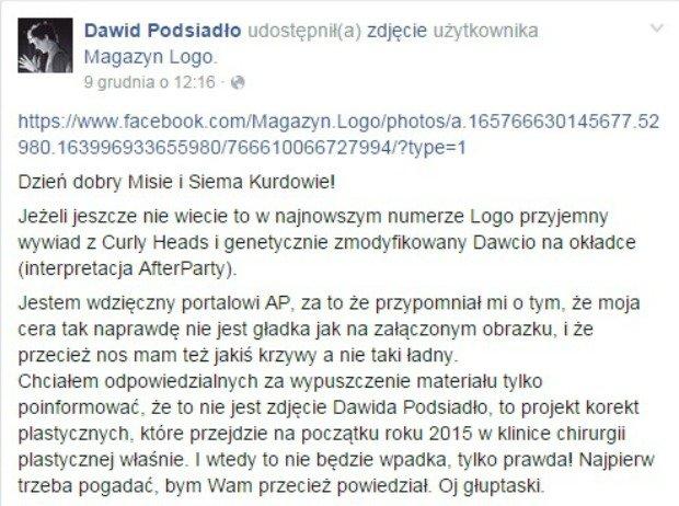 Dawid Podsiadło odpowiada na
