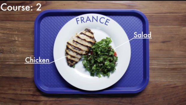 Tak wygląda drugie danie obiadu z jednej z francuskich szkół. Fot: screen z youtube/School Lunches Around The World
