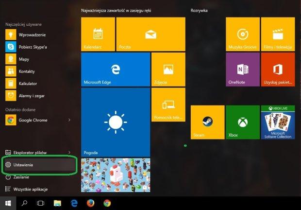 Ustawienia w Windows 10