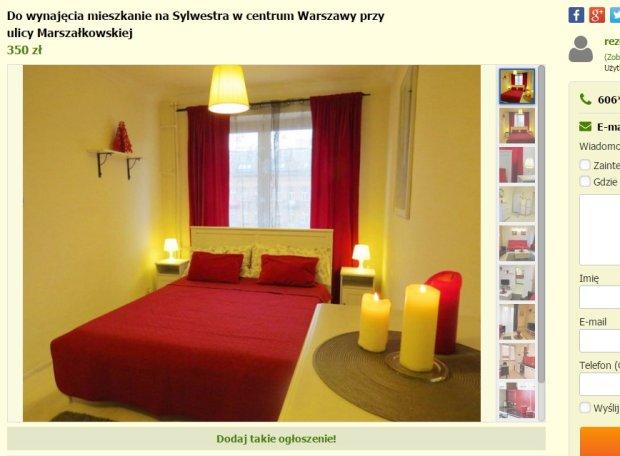 Oferta wynajmu mieszkania na noc sylwestrową, Warszawa