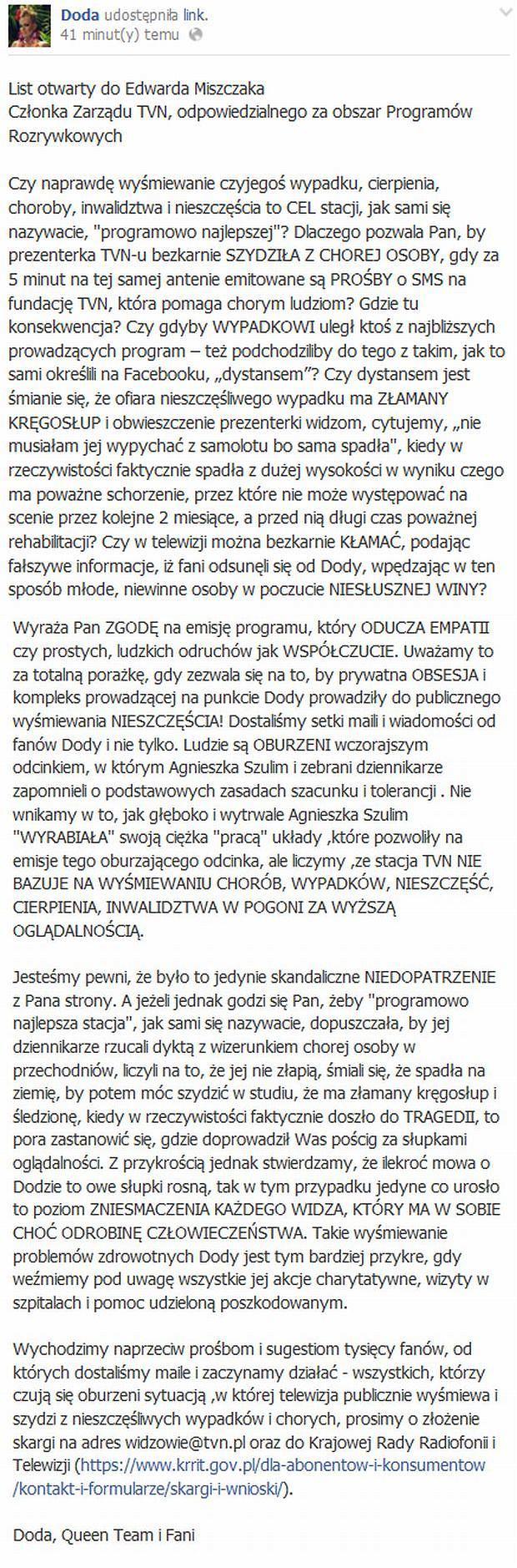 List otwarty Dody do Edwarda Miszczaka