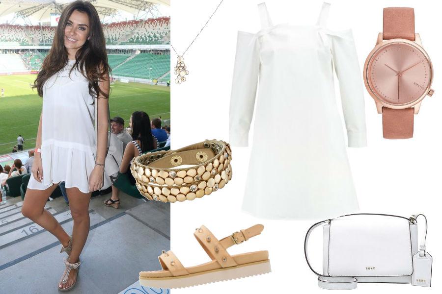 Natalia Siwiec, biała sukienka, beżowe sandały, mała torebka