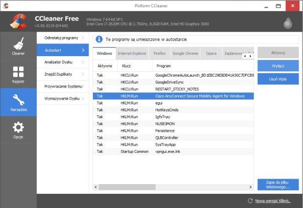CClaner - ekran wyłączania aplikacji z autostartu