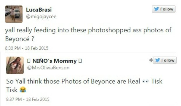 Twitter o zdjęciach Beyonce