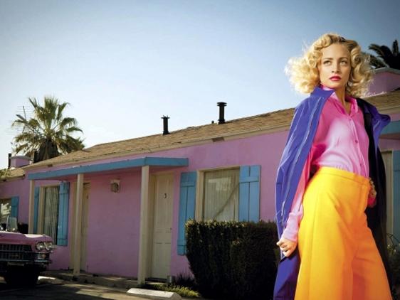Nicole Richie w marcowym numerze rosyjskiego wydania Harper's Bazaar, fluo, neony, kolory, Color Power
