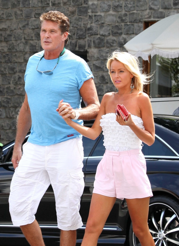 Beverly Hills, CA - Baywatch star David Hasselhoff and girlfriend Hayley Roberts spend a romantic day together.  The couple shared a lunch at