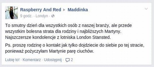 Rzekomy komentarz blogerki Raspberry And Red, według niej sfabrykowany