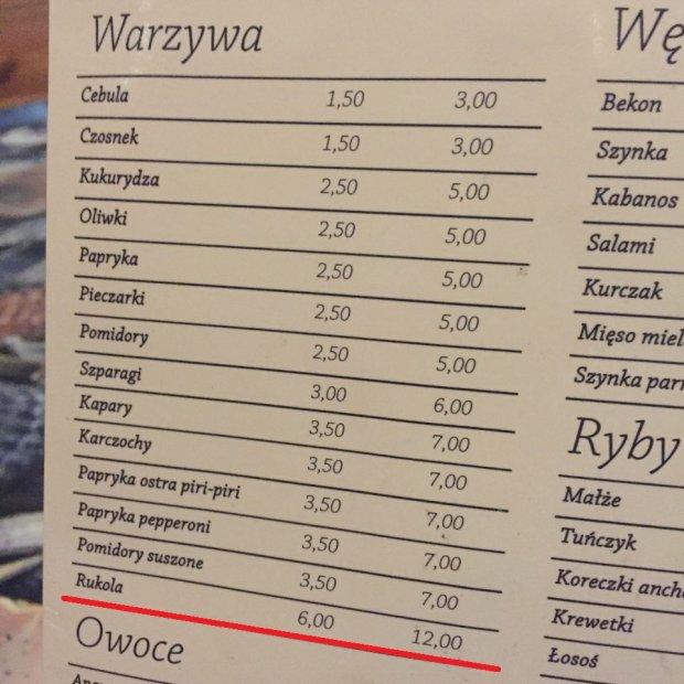 Warszawska pizzeria. Za dodatkową rukolę trzeba zapłacić nawet 12 złotych.
