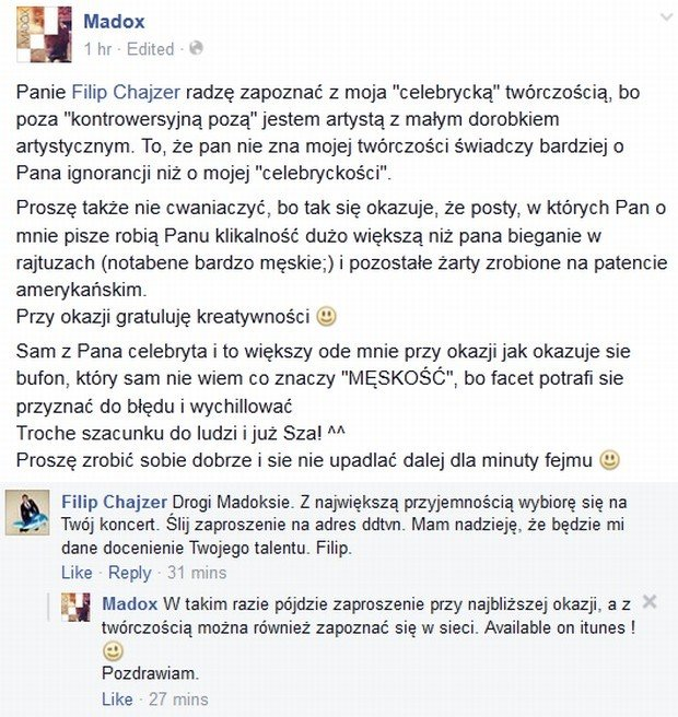 Madox i Filip Chajzer rozmawiają na Facebooku