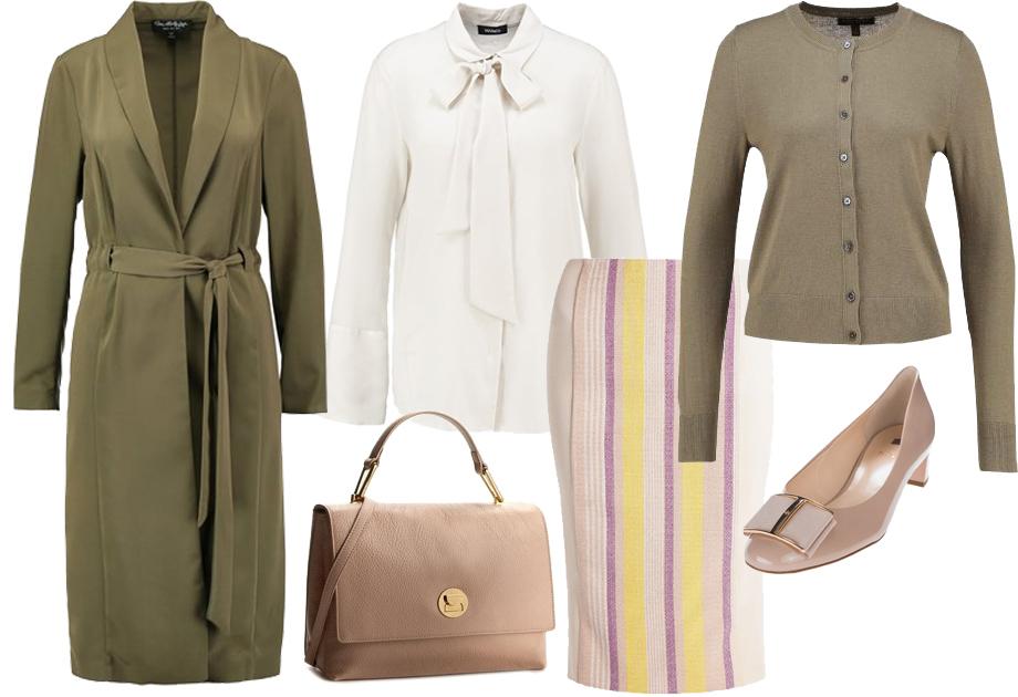 Płaszcz jak szlafrok w stylizacji do pracy