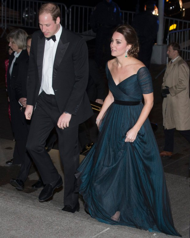 Britain's Prince William, the Duke of Cambridge, and Kate, Duchess of Cambridge, arrive at the Metropolitan Museum of Art, Tuesday, Dec. 9, 2014, in New York. William and Kate are on the last of their 3-day tour of New York City, their first visit to the United States since a trip to California in 2011. (AP Photo/John Minchillo)