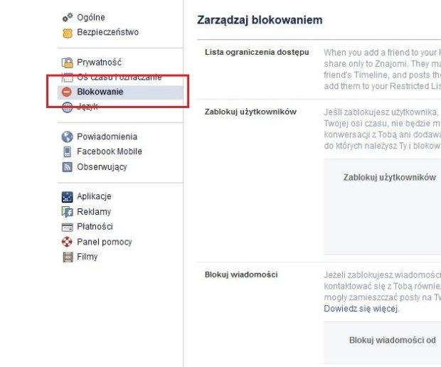 Facebook - Blokowanie
