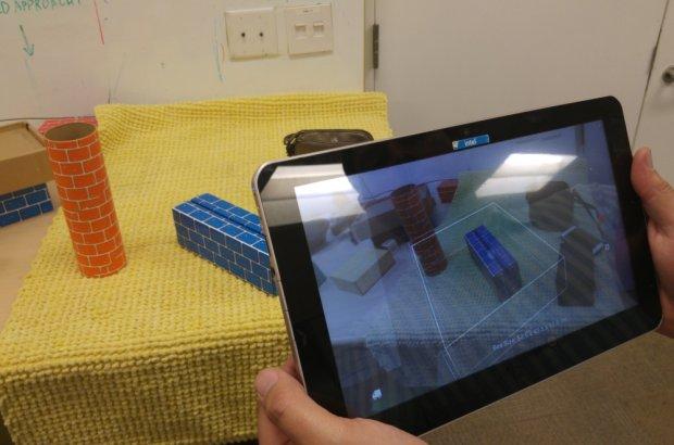 Mierzenie obiektów za pomocą tabletu z Real Sense