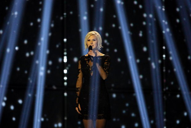 Singer Sanna Nielsen representing Sweden performs the song