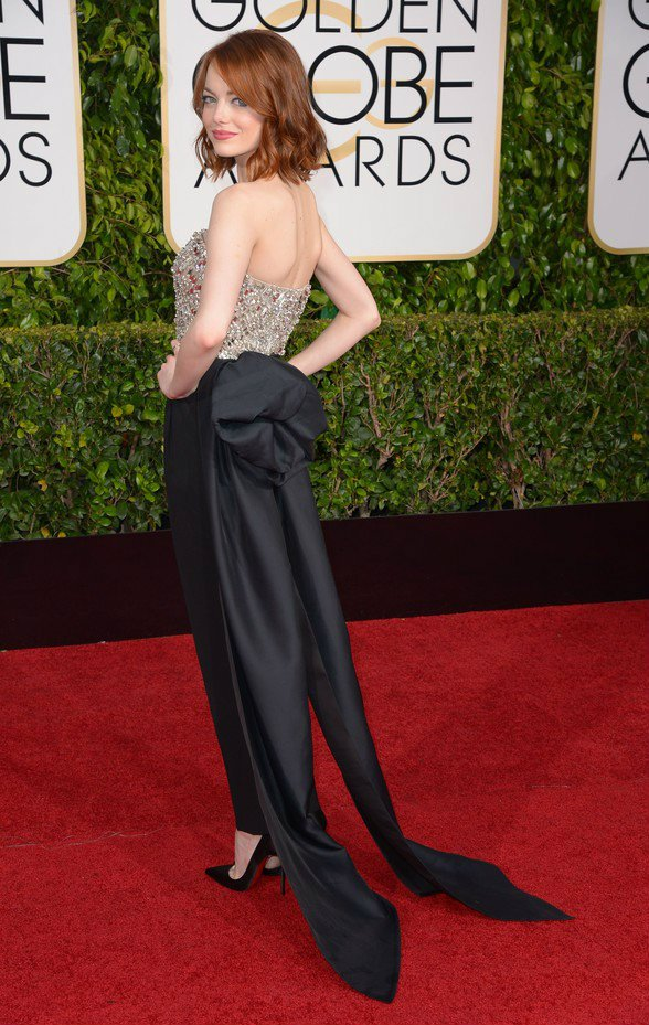 Mandatory Credit: Photo by REX (4375586go) Emma Stone 72nd Annual Golden Globe Awards, Arrivals, Los Angeles, America - 11 Jan 2015