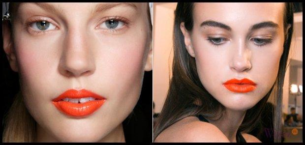 Pomarańczowe usta są absolutnym hitem. Należy jednak pamiętać, by były jedynym mocnym akcentem w makijażu. Źródło: www.wizaz.pl