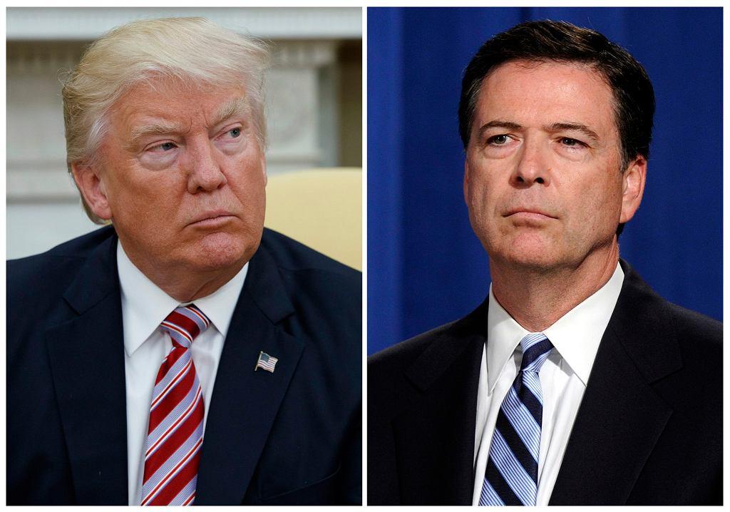 Prezydent USA Donald Trump i zwolniony przez niego były szef FBI James Comey (fot. Evan Vucci/Susan Walsh/AP)