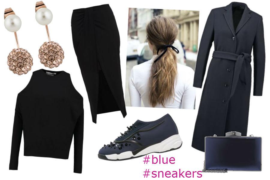 fot. materiały partnera, czarny sweter, granatowe buty