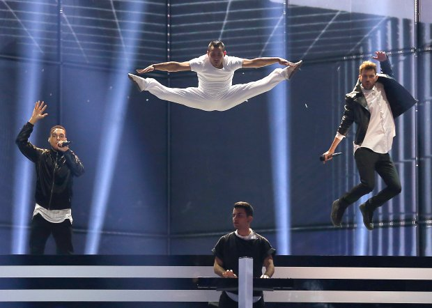 Freaky Fortune feat. RiskyKidd representing Greece perform the song 'Rise Up'  during a rehearsal of the Eurovision Song Contest Final in the B&W Halls in Copenhagen, Denmark, Friday, May 9, 2014. (AP Photo/Frank Augstein)
