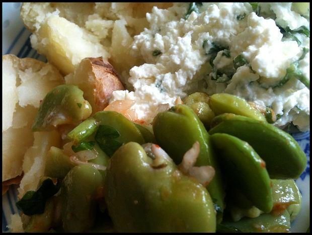 Szaleńśtwo: sałatka z bobu, gzik i pieczone zmieniaczki