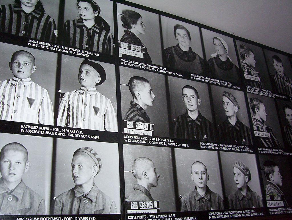 Fotografie więźniów Auschwitz. Zdjęcie wykonane zimą 1945 r. (fot. Wikimedia.org / CC BY-SA 3.0)