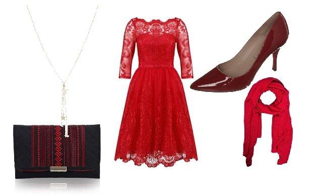 sukienka Chi Chi London, szpilki Pura Lopez, kopertówka Farbotka, naszyjnik Topshop, szal Medicine (kolaż: Groszki)