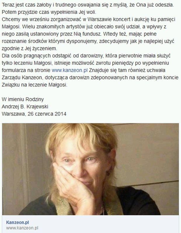 Oświadczenie rodziny Małgorzaty Braunek