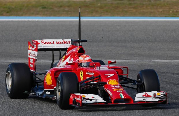 Ferrari Formula One racing driver Kimi Raikkonen of Finland drives the new F14 T during pre-season testing at the Jerez racetrack in southern Spain January 28, 2014. Formula One world champions Red Bull and closest rivals Mercedes unveil their 2014 cars before the start of pre-season testing and a new V6 turbo era.   REUTERS/Marcelo del Pozo (SPAIN - Tags: SPORT MOTORSPORT)