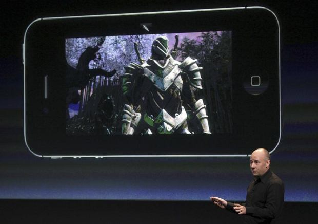 Mike Capps, President of Epic Games, speaks about games on the iPhone at Apple headquarters in Cupertino, California October 4, 2011. REUTERS/Robert Galbraith (UNITED STATES - Tags: SCIENCE TECHNOLOGY BUSINESS)
