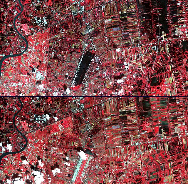 The flooding from the Chao Phraya River, Thailand moved steadily south towards the capital city of Bangkok. The top image was acquired November 1, and shows Don Muang, Bangkok's domestic airport, under water. Compared to the bottom image, acquired October 25, more fields to the northeast are inundated. The major flooding was west of the river, and into the city. The ASTER images cover an area of 26 by 27kilometers, and are located near 14.1 degrees north latitude, 100.5 degrees east longitude.