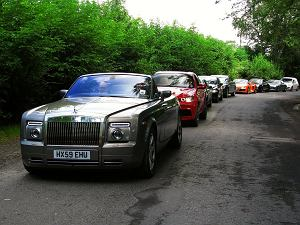 Rolls-Royce Phantom Drophead Coupe, Bentley Continental Flying Spur, Porsche 911 Turbo S, BMW X6 M, Maserati Quattroporte, Jaguar XJ, Mercedes SLS AMG, Audi R8 V10 Spyder