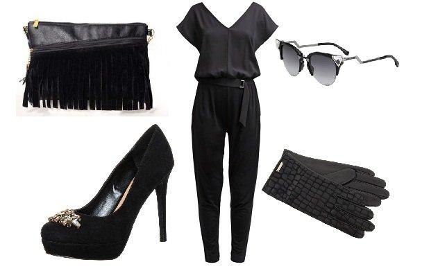 kombinezon MAX&Co., szpilki New Look, torebka SakoLife, okulary Fendi, rękawiczki Simple (kolaż: Groszki)
