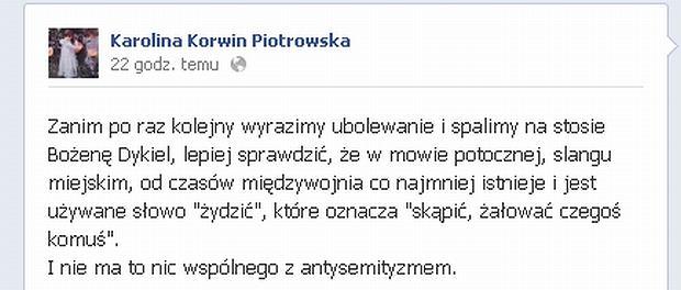 Karolina Korwin Piotrowska, Bożena Dykiel, Żydzi, antysemityzm