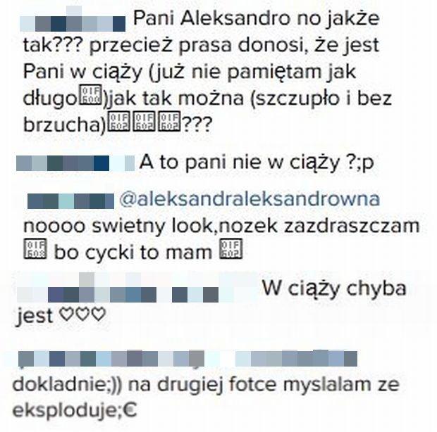 Komentarze na profilu Aleksandry Kwaśniewskiej