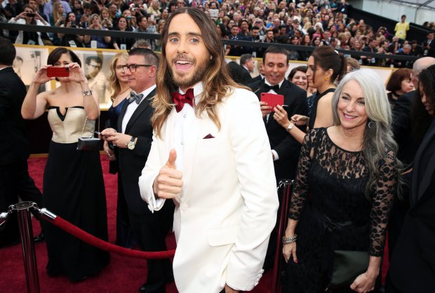 Jared Leto arrives at the Oscars on Sunday, March 2, 2014, at the Dolby Theatre in Los Angeles.  (Photo by Matt Sayles/Invision/AP)