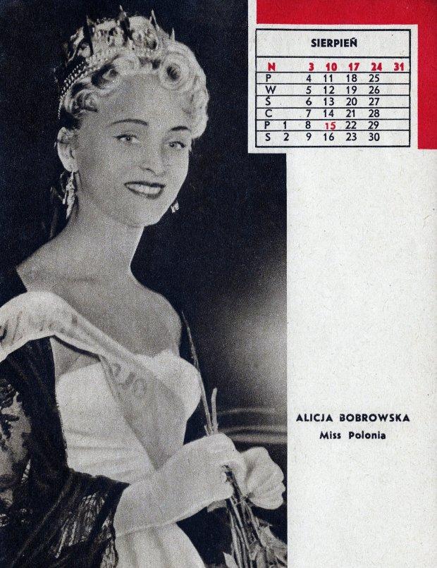 Alicja Bobrowska, pierwsza powojenna miss Polonia w kalendarzu tygodnika Panorama