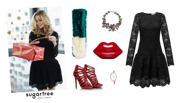Sukienka Sugarfree, buty Domodi, torebka Lulu Guiness, kołnierz Topshop, zegarek CK, naszyjnik Zara