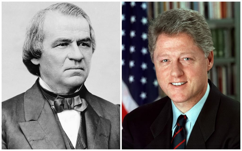 Andrew Johnson i Bill Clinton (fot. Mathew Brady/US Library of Congress/Bob McNeely/The White House/public domain)