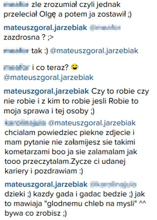 Komentarze z konta Mateusza Jarzębiaka