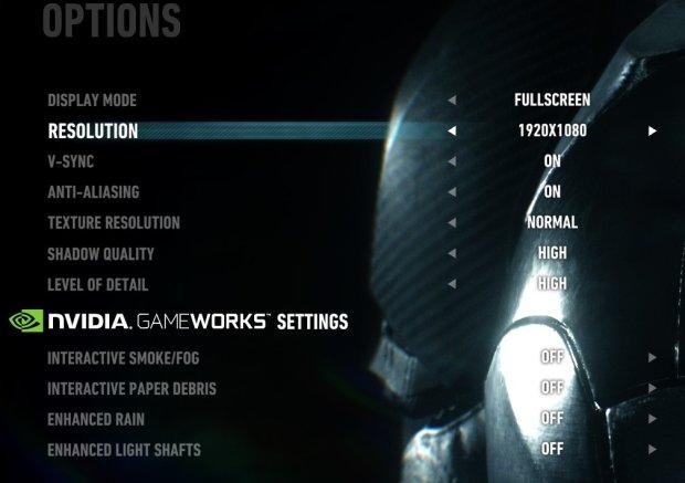 Menu ustawień graficznych w Batman: Arkham Knight