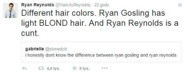 Wpis z Twittera Ryana Reynoldsa