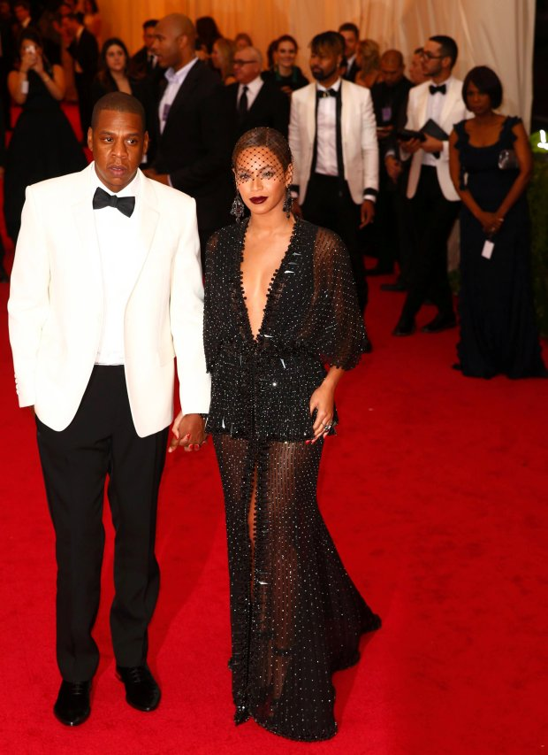 Jay Z and Beyonce Knowles arrive at the Metropolitan Museum of Art Costume Institute Gala Benefit celebrating the opening of