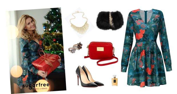 Sukienka Sugarfree, buty Louboutin, torebka Michael Kors, kołnierz MaxMara, pierścionek Zara, perfumy Chanel