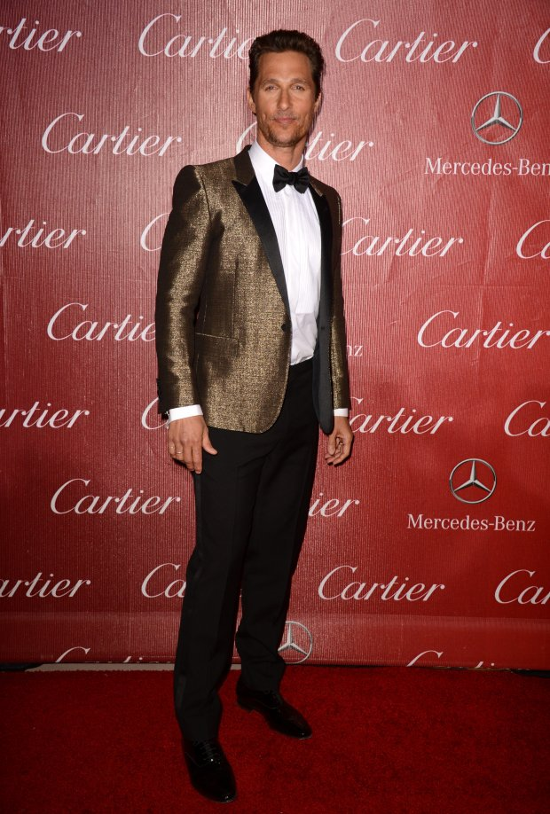 Matthew McConaughey arrives at the Palm Springs International Film Festival Awards Gala at the Palm Springs Convention Center on Saturday, Jan. 4, 2014, in Palm Springs, Calif. (Photo by Jordan Strauss/Invision/AP)