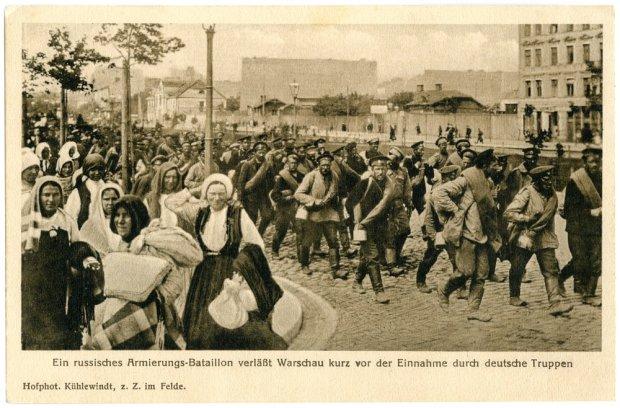 Oddziały rosyjskie wycofujące się z Warszawy przed wojskami niemieckimi 1915 rok
