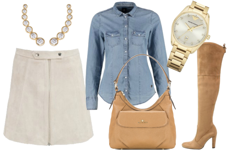 Spódniczka mini i koszula jeansowa