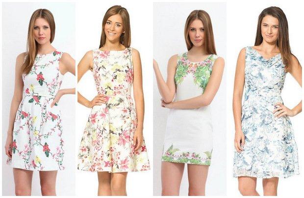 Kwiaty na białym tle - jasne sukienki na lato
