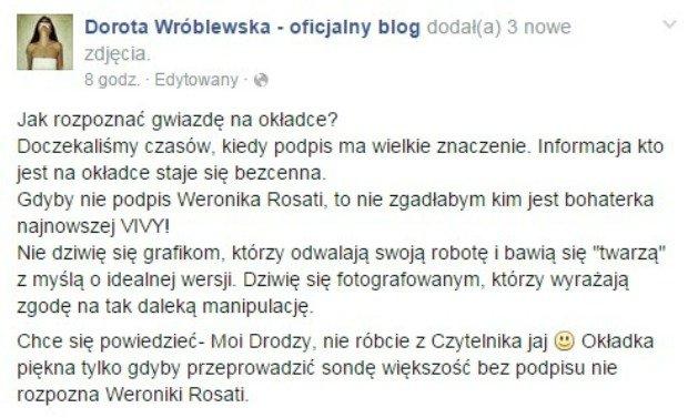 Dorota Wróblewska o okładce z Rosati